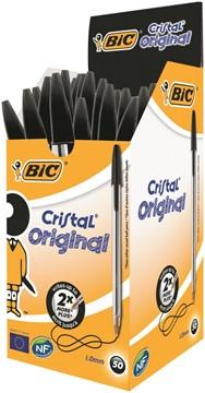 Bic Cristal Ball Pen Clear Barrel 1.0mm Tip 0.32mm Line Black Ref 8373632 [Pack 50]