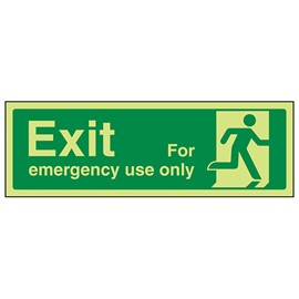 Exit for emergency use only man right - adhesive