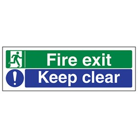 Fire Exit / Keep clear - Adhesive Vinyl