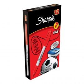 Sharpie Permanent Marker Fine Tip 0.9mm Red Ref S0810940 [Pack 12]
