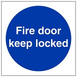 Fire Door Keep Locked 100x100mm - Adhesive Vinyl
