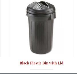 Black Plastic Bin with Lid 80L