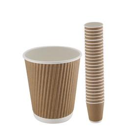 8oz Kraft Triple Walled Ripple Coffee Cup Sleeve x 25