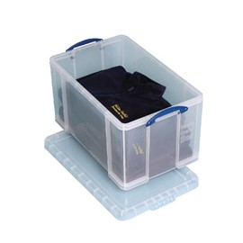 Really Useful 84 Litre Box With Lid Clear