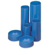 Office Desk Tidy with 6 Compartment Tubes Blue