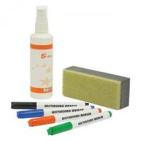 5 Star Drywipe Starter Kit 4 Whiteboard Markers/Eraser/125ml Whiteboard Cleaning Spray