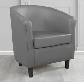 Tuscany Grey Faux Leather Tub Chair