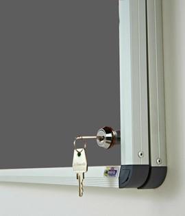 Classic Lockable Noticeboard Grey Felt 1200x900mm