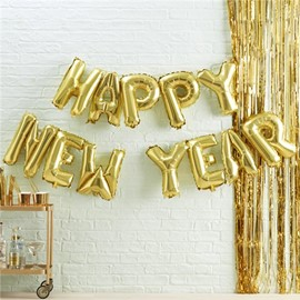 "Gold Metallic Star ""Happy New Year"" Balloon Buntin"