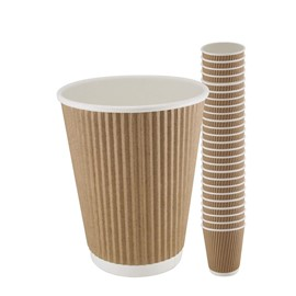 12oz Kraft Triple Walled Ripple Coffee Cup Sleeve x 25