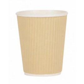 12oz Kraft triple walled ripple coffee cup case x 500