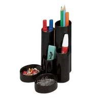 Office Desk Tidy with 6 Compartment Tubes Black